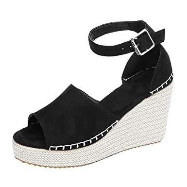 834721c122e Sumen Women Wedge Sandals Ankle Strap Open Toe Espadrille Wedge Sandals  Platform Shoes Black