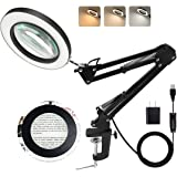 LANCOSC Magnifying Glass with Light and Stand, 3 Color Modes Stepless Dimmable, 5-Diopter Glass Lens, Adjustable Swivel Arm,