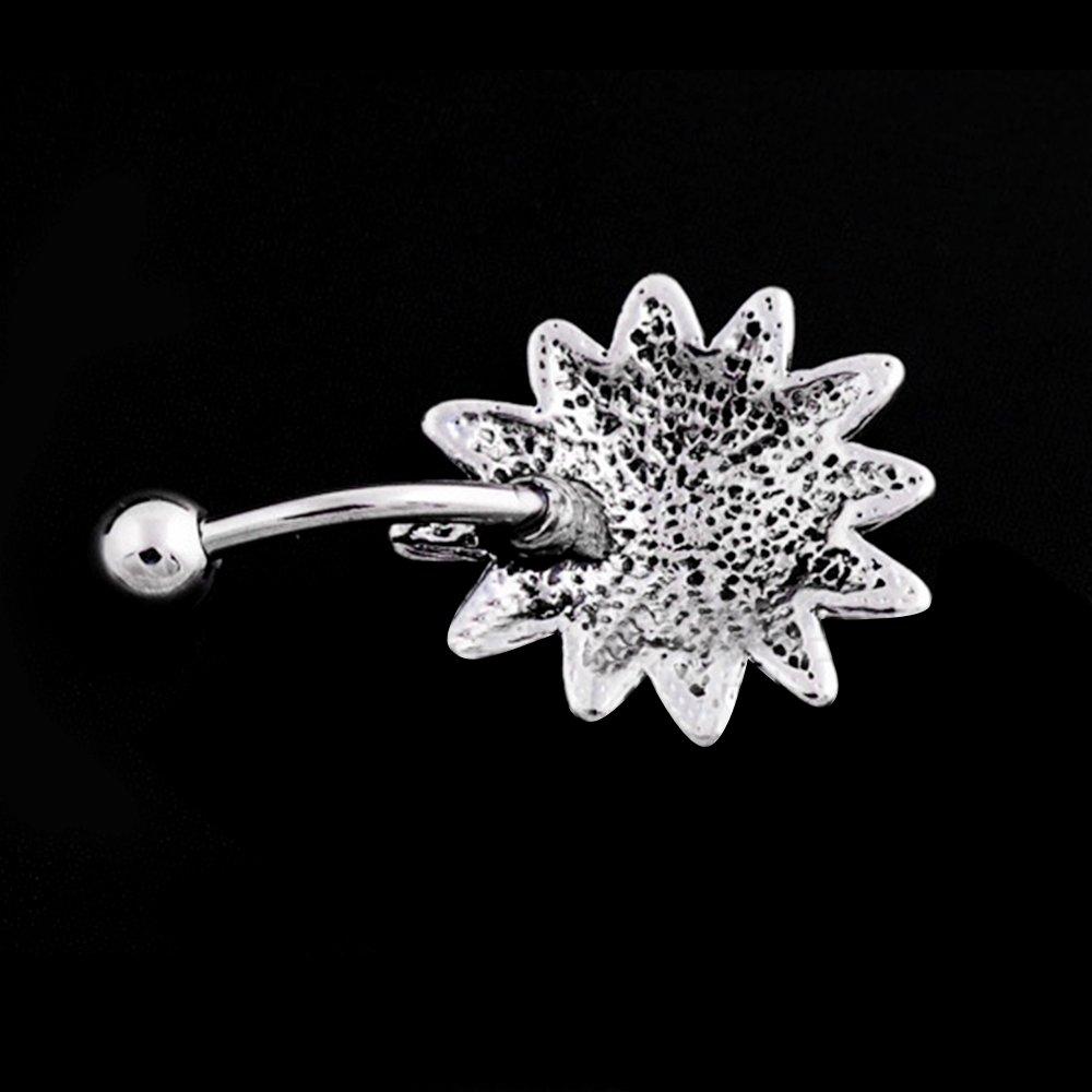 Sanwood 1.6mm 316L Surgical Steel Large Bezel CZ Vintage Floral Navel Ring