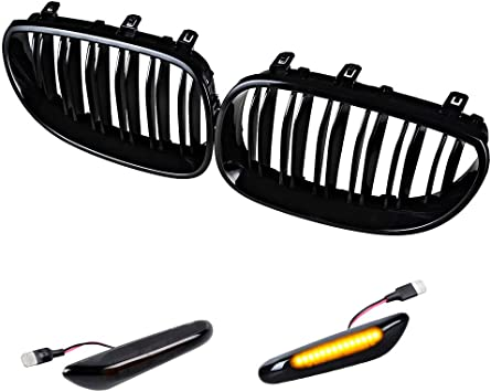Gloss Black Kidney Grill Grilles Dual Slat For BMW M5 E60 E61 5 Series 2003-2010
