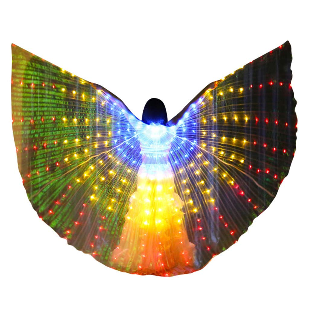 LED Belly Dance Isis Wings for Women, Colorful Butterfly Shawl Fairy Ladies Cape Nymph Pixie Costume Angel Wings with Telescopic Sticks for Halloween Carnival Performance Clothing (Blue,A)