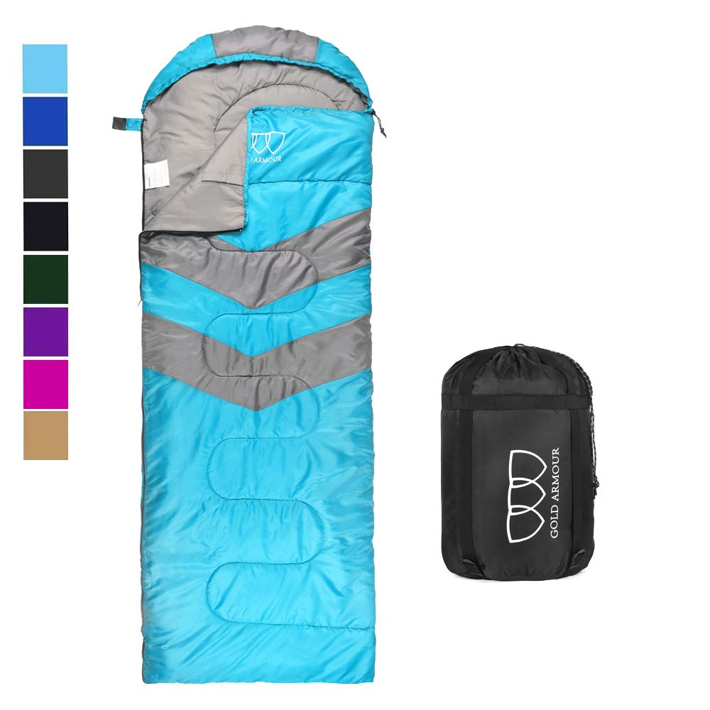 Sleeping Bag - Sleeping Bag for Indoor & Outdoor Use - Great for Kids, Boys, Girls, Teens & Adults. Ultralight and Compact Bags for Sleepover, Backpacking & Camping (Sky Blue / Gray - Right Zipper) by Gold Armour