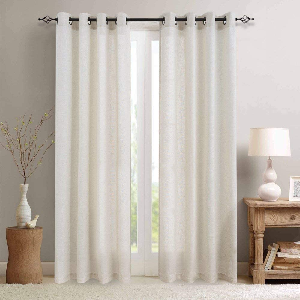 jinchan Linen Textured Curtains for Living Room Grommet Top Window Treatment Set for Bedroom 2 Panels 84 inches Long Crude