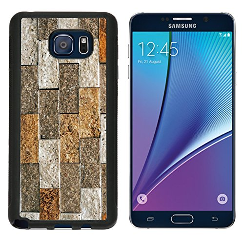 686 Bricks (MSD Premium Samsung Galaxy Note 5 Aluminum Backplate Bumper Snap Case Cobbles with different sizes and colors with the vintage model IMAGE)