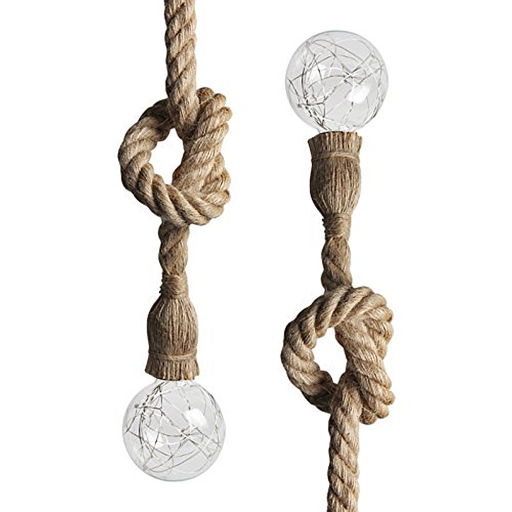 Juneslife Vintage Rope Pendant Light Single Head 1m Adjustable Industrial Hemp Rope Chain Ceiling Lamp Cafes Bars Restaurants Dining Rooms Bedrooms Aisle Pack of 2