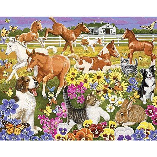 Piece 100 Puzzle Horses - Bits and Pieces - 100 Large Piece Jigsaw Puzzle - Pony Pals on the Farm - 100 pc Horses Jigsaw by Artist Jack Williams