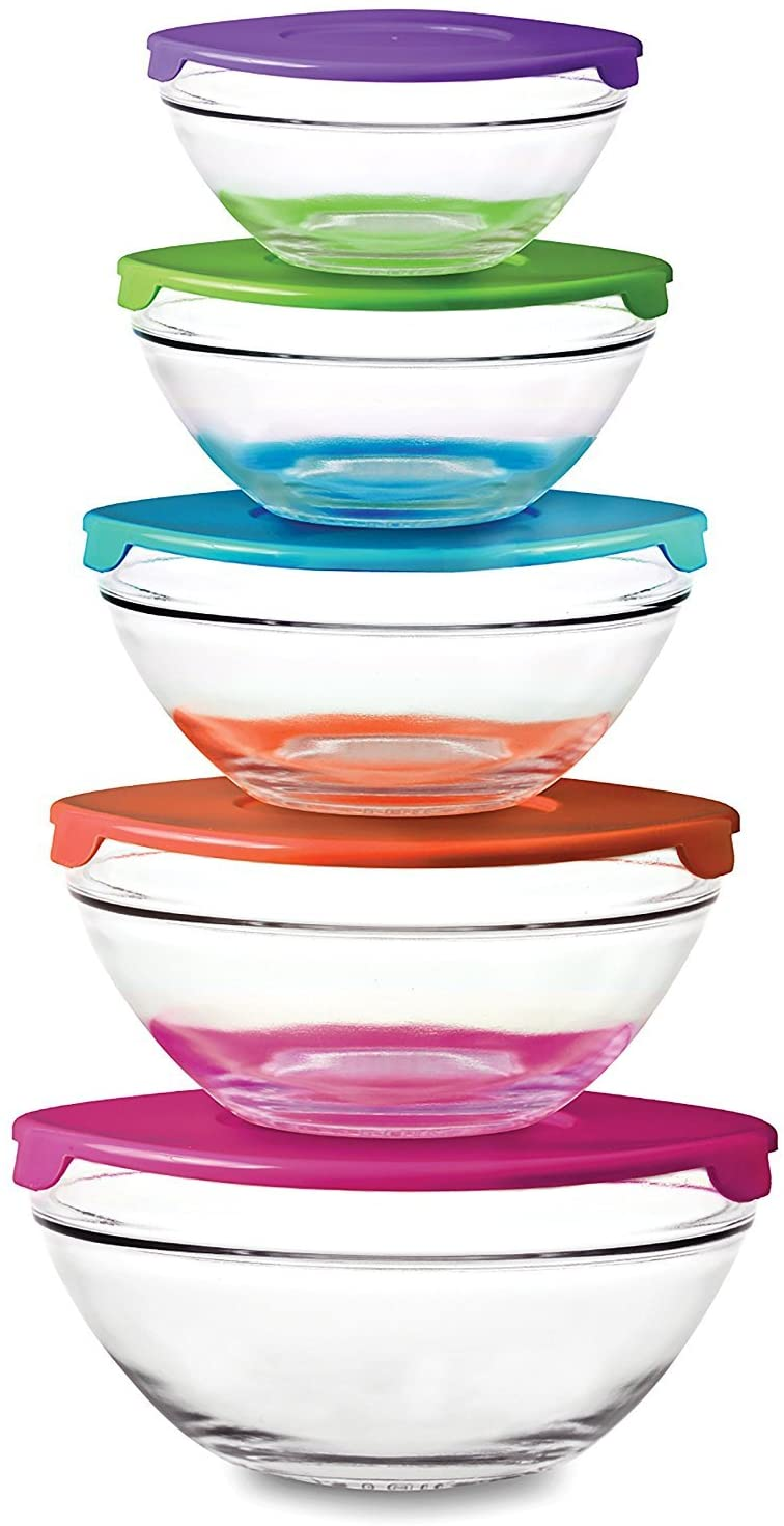 10 Piece Glass Bowl Set with Plastic Lids (Microwave, Freezer and Dishwasher Safe) by PKP