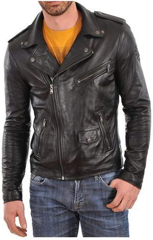 DIB Leather Mens Lambskin Leather Bomber Biker Jacket