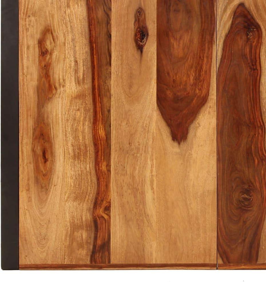 vidaXL Legno Massello di Sheesham Tavolo da Pranzo Stile Industriale Raffinato Telaio Robusto Rustico Venature Uniche Tavola Mensa Cucina 120x60x76 cm