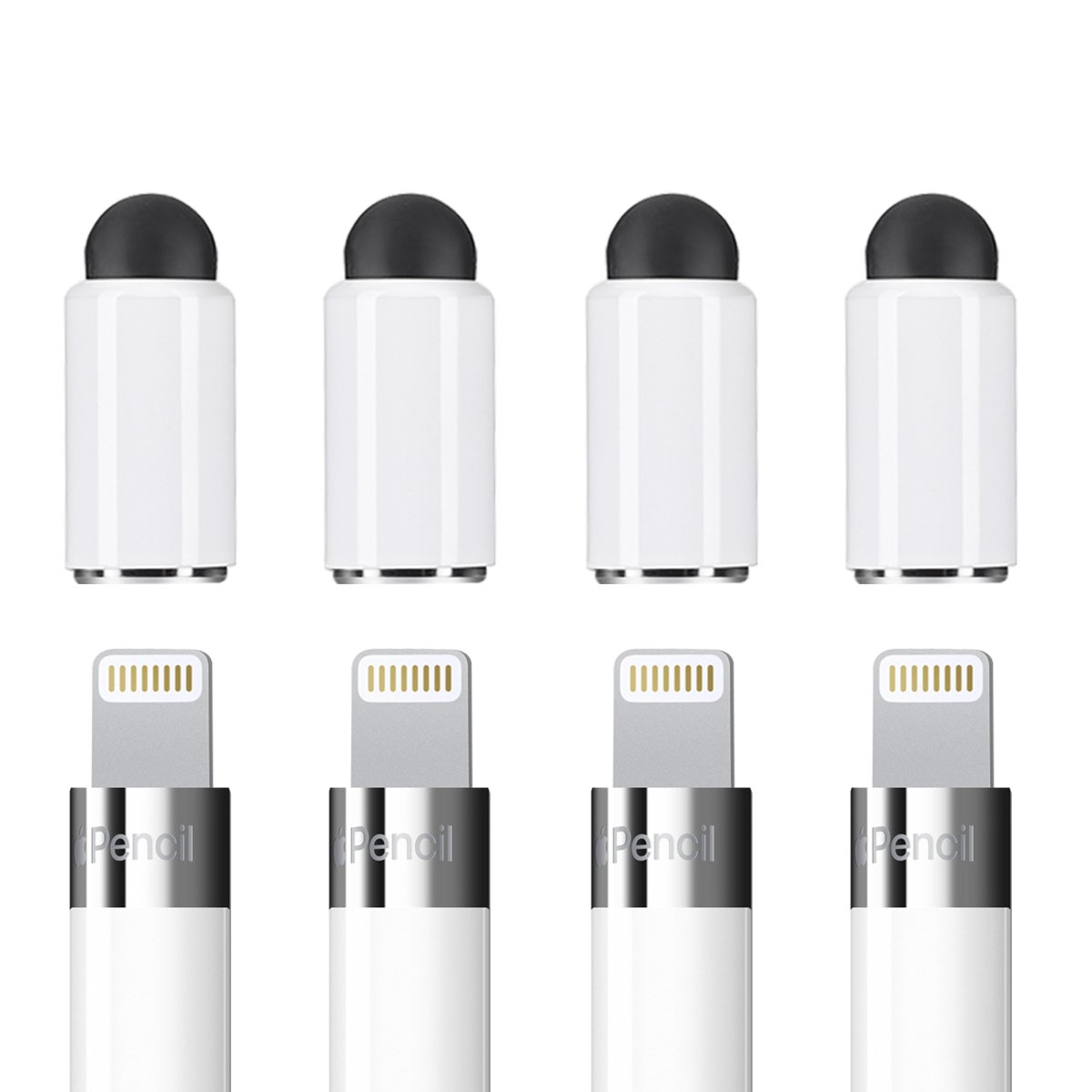 Zspeed Pencil Cap Replacement for Apple iPad Pencil, 2 in 1 Stylus, Rubber Replacement Caps as Stylus Pen for All Touch Screen Tablets/Cell Phones (Pack of 4)