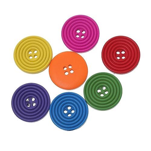 Souarts Mixte Bouton en Bois 4 Trous Motif Spirale 2.5cm Lot de 100pcs