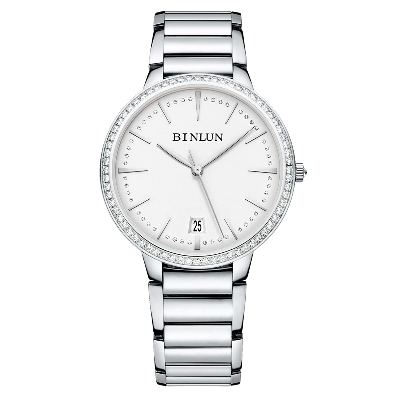 BINLUN Mechanische Paar Uhren Herren Damen Rose Gold Silber Ultra Thin Automatik Uhr mit Diamante