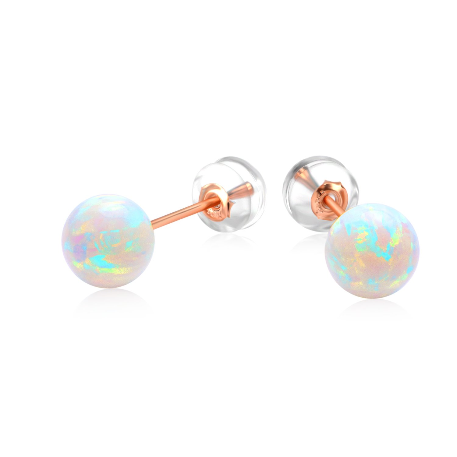 18 K Solid Gold Round Simulated Opal Stud Earrings Ball Fine Jewelry for Women (Rose Gold)