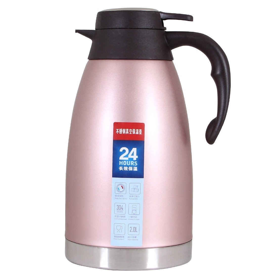 Thermal Carafe Stainless Steel Vacuum Hot Coffee Pot Double Walled Large Thermo Pitcher Tea Jug Insulated Milk Server-2L/68oz Amazing Camel