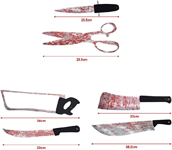 Blutige Messer und Werkzeuge Girlande 180 cm Halloween Deko