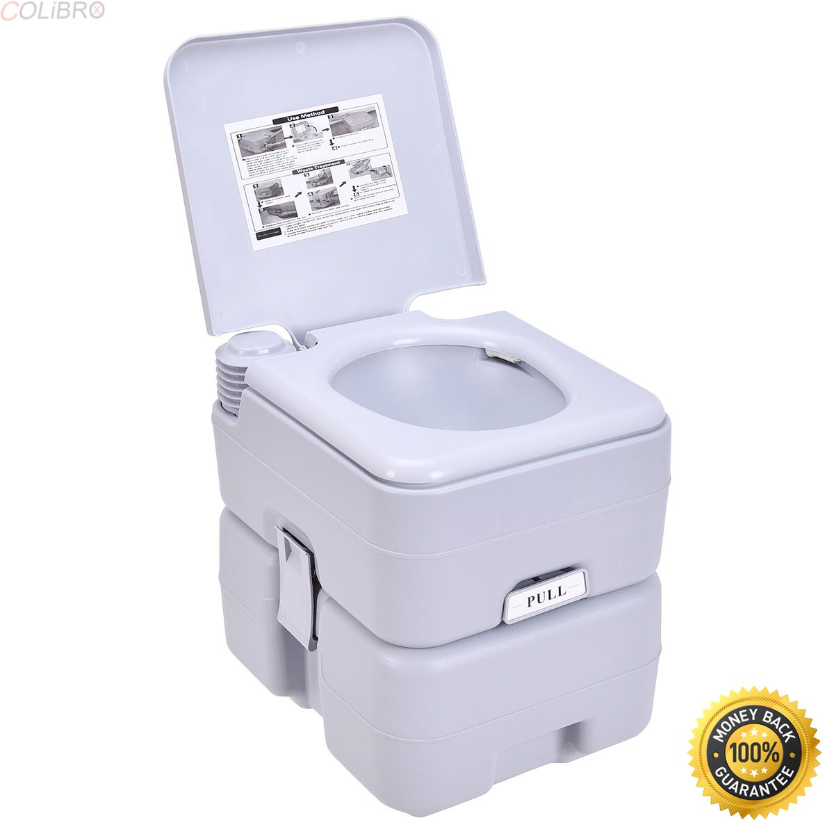COLIBROX--5 Gallon 20L Portable Toilet Flush Travel Camping Outdoor/Indoor Potty Commode,walters portable toilets,cheap toilets,luxury portable toilet,rei portable toilets,portable toilets for home us by COLIBROX (Image #1)