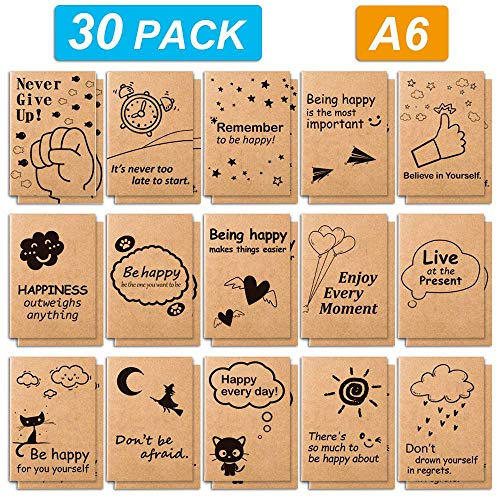 30 Pack Kraft Notebooks, Feela 15 Designs A6 Cute Pocket Notebooks and Journals, 80 Lined Pages Motivation Small Journal Notebook in Bulk for Travelers Students Making Plans Writing Memos, 4.1X5.8 in