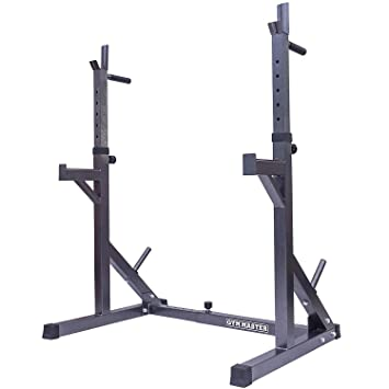 Gym master adjustable squat rack stand with spotters and dip bars