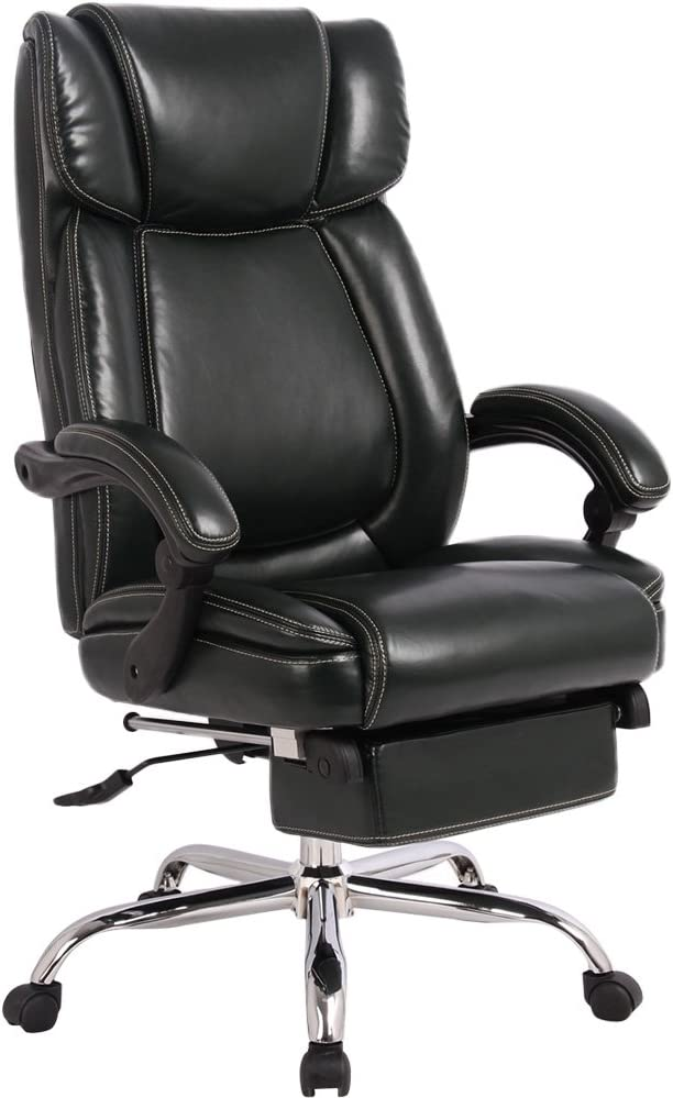 Amazon Com Merax Executive Reclining Office Chair High Back Napping Chair Big Tall Thick Padded Ergonomic Office Recliner Computer Desk Chair With Footrest For Home And Office Black Furniture Decor