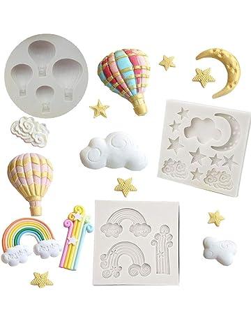 Molde de Silicona para Fondant de Pasta de azúcar con diseño de Estrella arcoíris de la