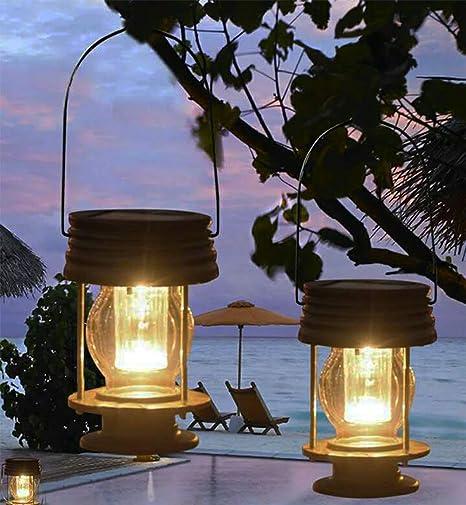 pearstar farolillos colgantes con energía solar para decoración de mesa, luces LED para exteriores, jardín, estaca para árbol, pabellón, patio, 2 faroles,warm light: Amazon.es: Iluminación