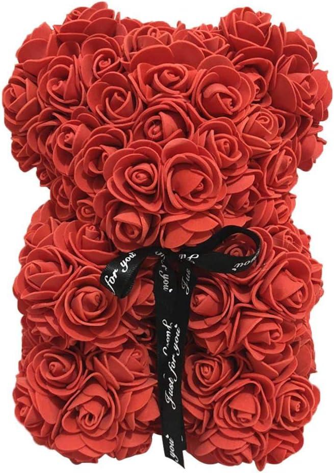 Oso de peluche – Muñeca de oso rosa Simulada PE Flor San Valentín Decoración 25 cm Decoración Juegos Juguetes Ornament Decoración simboliza Amor Belleza brillante Tapferkeit y noble Rojo.
