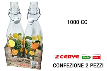 Juego de 2 botellas 100 cl Cerve (1lt) cierre hermético con decoro Frutas de