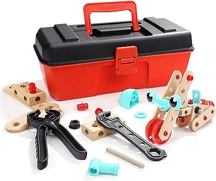 53PCS juguete juego caja niños Herramientas madera actividad conjunto niño niño niña construcción caso bricolaje regalo: Amazon.es: Bricolaje y herramientas