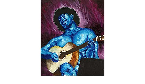 Blue Nude Guitar Guy Signed 8x10 Art PRINT from Original Oil Painting by VERN
