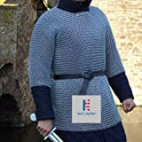 Chain mail Medieval Haubergeon Half Sleeve Shirt Mild Steel 10 mm Butted Ring- X Large