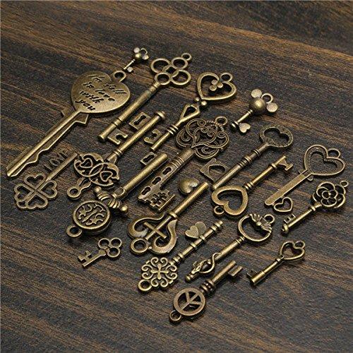 C&C Products 19Pcs Antique Vintage Old Look Skeleton Key Set Lot Pendant Heart Bow Lock Steampunk Jewel