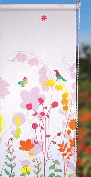 Rollo Mit Kettenzug Bedruckt Mit Blumen Vogel Schmetterling