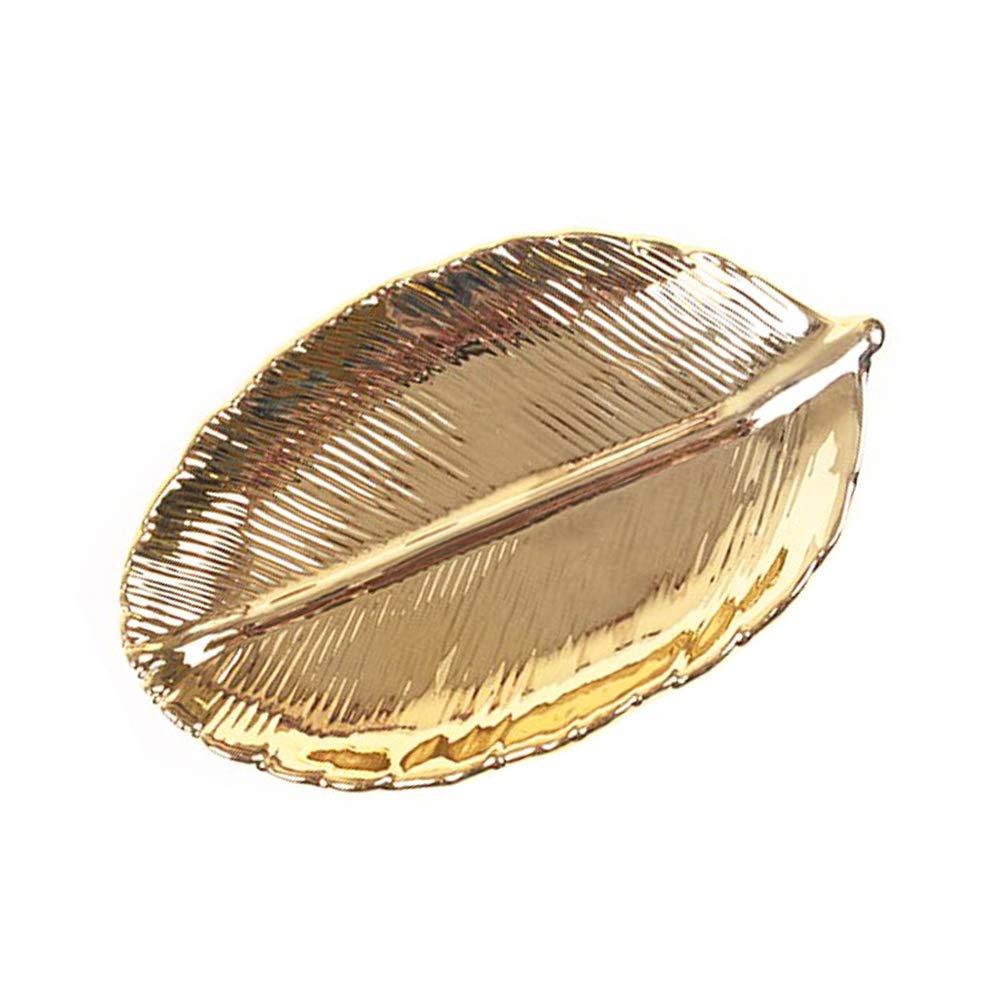 STAR-TOP Gold Electroplating Ceramic Jewelry Storage Box Storage Tank Home high-Grade Porcelain Animal Plants Decorative Ornaments Jewelry Tray-Leaf