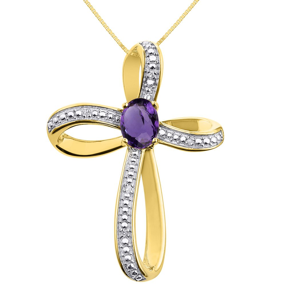 Diamond & Amethyst Cross Pendant Necklace Set In Yellow Gold Plated Silver .925 with 18'' Chain