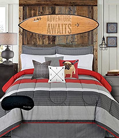 Teen Boys Bedding Modern Striped Rugby Gray Black Red TWIN Comforter, Sheets, Bedskirt & Home Style Brand Sleep Mask (7 Pc. Bed in a Bag Bundle) (Twin)
