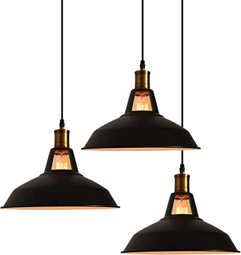 MINGYALL3 Pack Industrial Metal Pendant Light with 47.2 inches Adjustable Cord, Using E26 Based Bulbs Matte Black