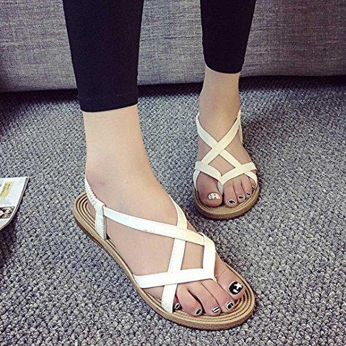 Tefamore Mujer zapatos planos vendaje Bohemia ocio sandalias de señora Peep-Toe zapatos al aire libre Blanco