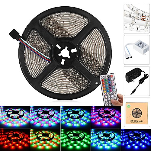 Ledgle LED Light Strip Kit,Waterproof 16.4ft,300 LEDs SMD5050 Color Changing RGB Strip Lighting with 44 Key Remote & 12V 5A Power Supply for Party,Holidays & Decorations (16.4ft 300LEDs)