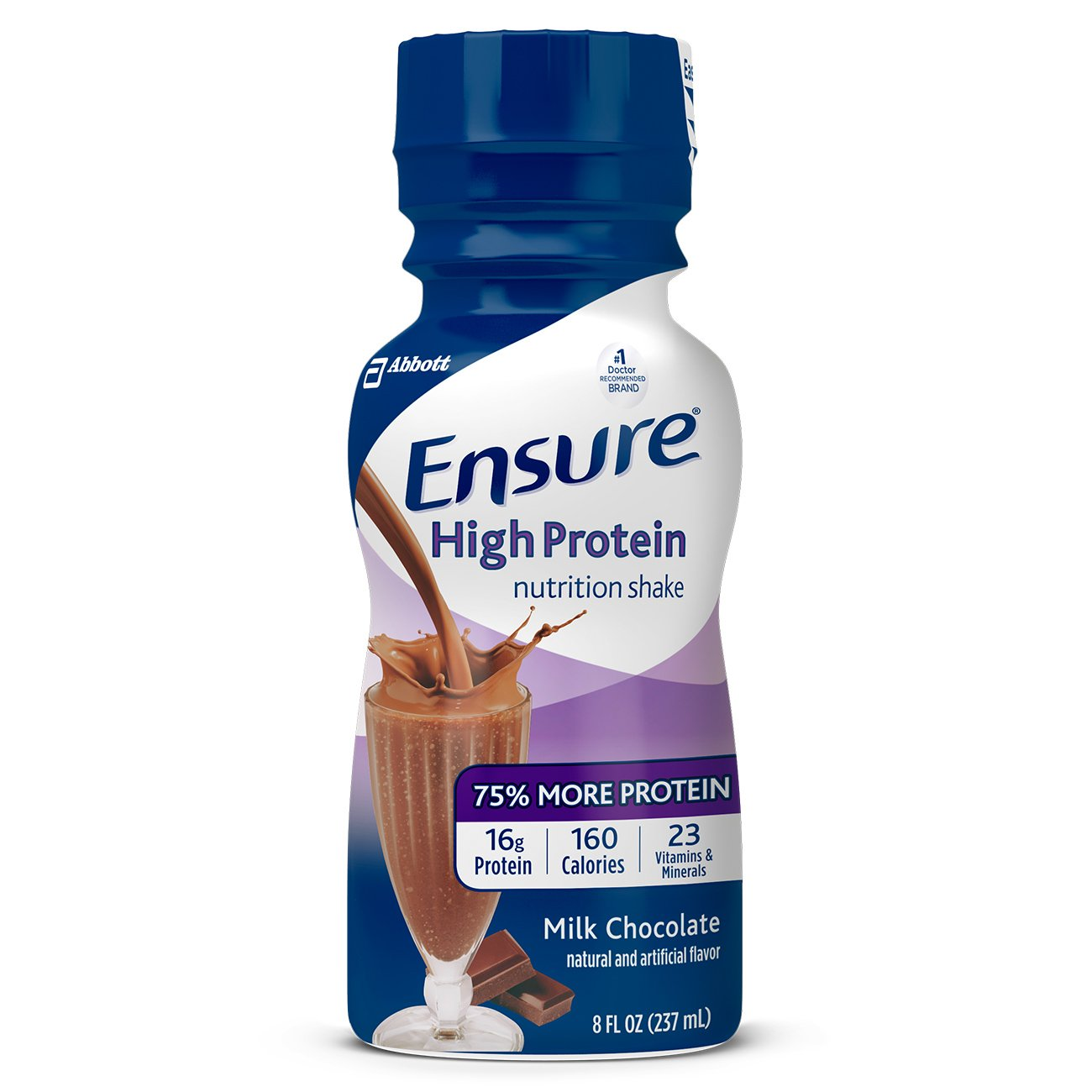 Ensure High Protein Nutrition Shake with 16 grams of high-quality protein, Meal Replacement Shakes, Low Fat, Milk Chocolate, 8 fl oz, 24 count