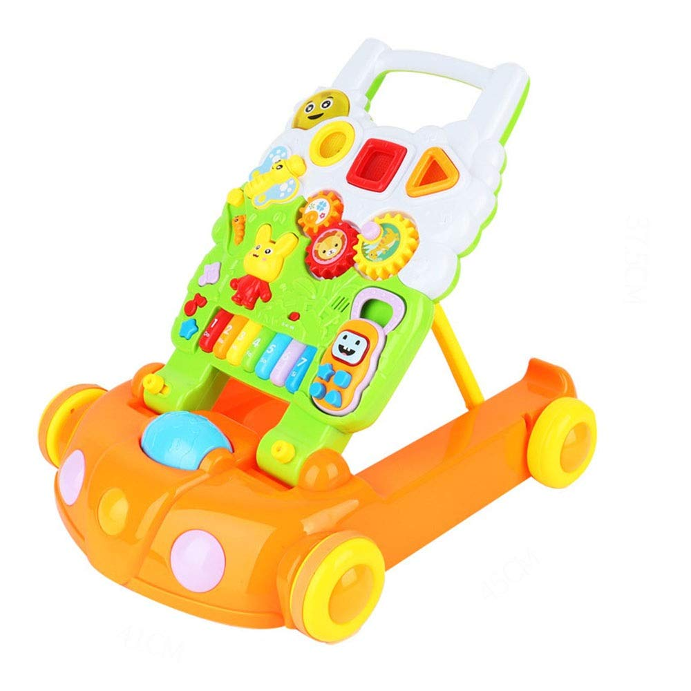 Baby Three-in-one Activity Walker Detachable Game Panel Children's Toys Baby Walker Trolley Multi-Function Anti-Rollover Walking Walking (Color : Green, Size : 485346CM)