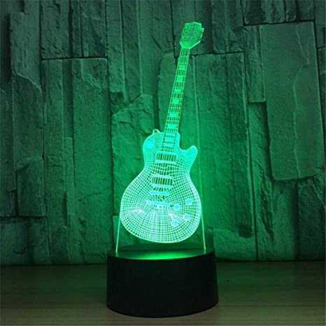 Led Night Light Spotlight 3D Visual Led Moda Música Guitarra Eléctrica Forma Lámpara de mesa