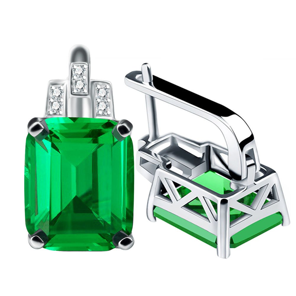 A ANGG Women 8ct Green Emerald Cut Clip Earrings 925 Sterling Silver Jewelry