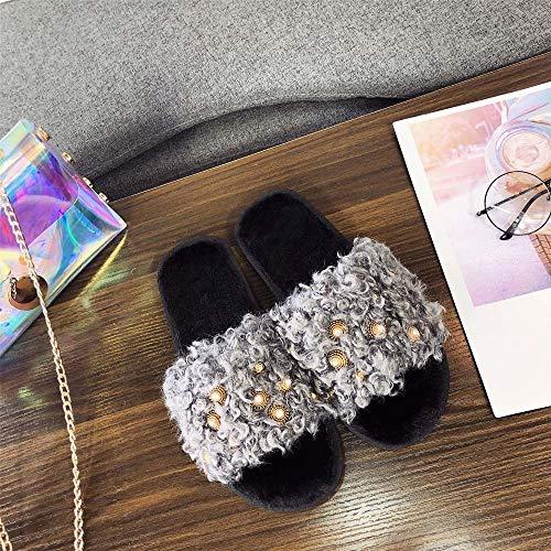 Mujer Moda Para Plano Casa Fur Cómodo Abierta Alikeey Cruz Magista Cálido Militares De Gris Zapatillas Fondo Punta Zapatos 5gxCd1dqw
