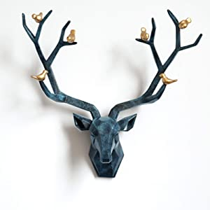 Deer Head Wall Sculpture - Resin Deer Antlers Wall Decor - Geometrical Wall Art - Fixings Included 20.1 x 20.5 x 6.5in,Blue,L