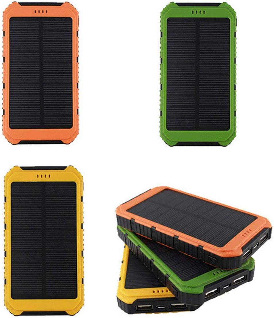 Lesiey Solar Power Bank Portable Charger Solar Phone Charger with 2 Fast Charging USB Port External Battery Pack for Android Phones Yellow 6000mAh