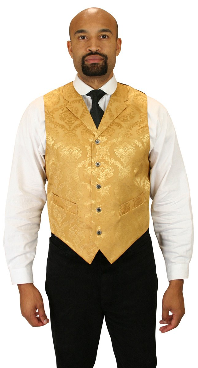Historical Emporium Men's Satin Floral Dress Vest S Gold by Historical Emporium (Image #1)