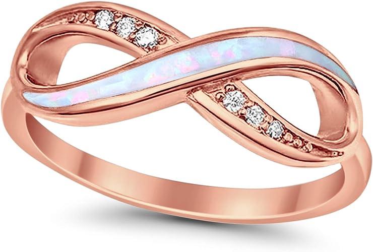 Blue Created Opal Eternity Infinity Sign Stud Earrings Sterling Silver 19 mm