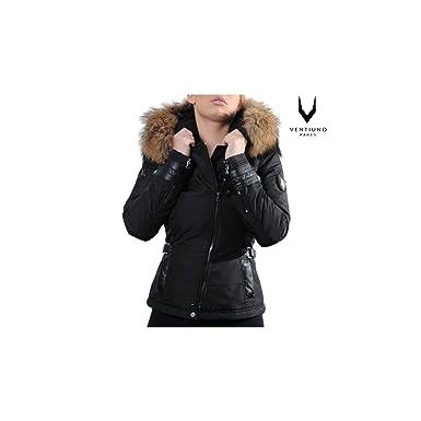 Ventiuno Blouson Emily Noir Grosse Fourrure véritable et Cuir d agneau - XS  - Doudoune 9deb96cf6912