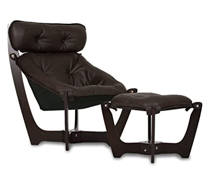 IMG Luna High Back Black Leather Chair And Ottoman   Prime P301 Black  Leather Espresso Wood