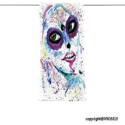 VROSELV Custom Toalla Suave y cómodo Playa Towel-Halloween niña con azúcar Calavera Maquillaje Watercolor